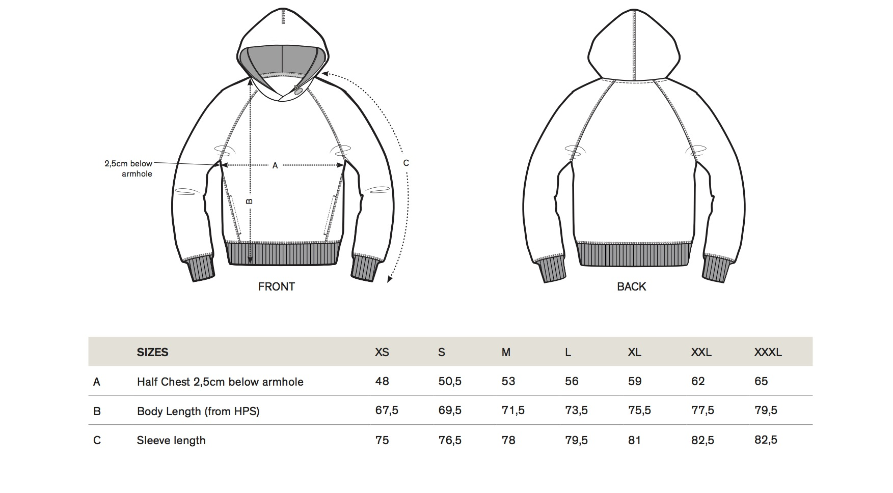 ONE ONE ONE Wear - Size guide Hoody