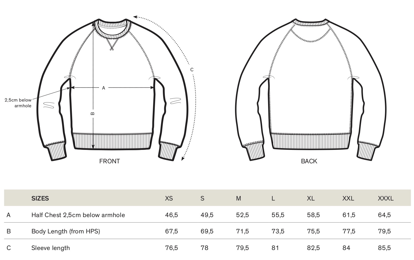 ONE ONE ONE Wear - Size guide Sweater